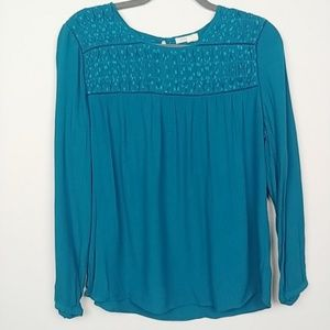 Anthro | Meadow Rue Teal long sleeve Blouse